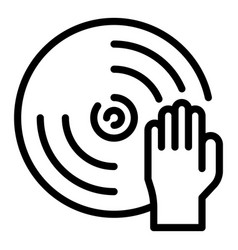 Hand on disk icon outline style vector