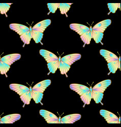 holographic butterlfy seamless pattern vector image