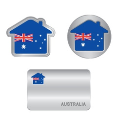 Home icon on the Australia flag vector image