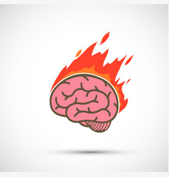 Icon human brain burns in flame migraine or stress vector