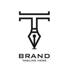 initial pen logo t vector image
