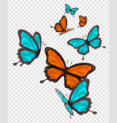 isolated orange and blue butterfly set vector image
