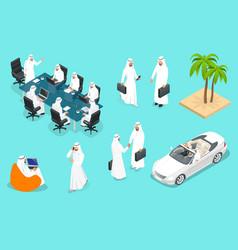 Isometric saudi businessmens arab man n character vector
