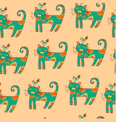 kid s drawn cat with bird - semless pattern vector image