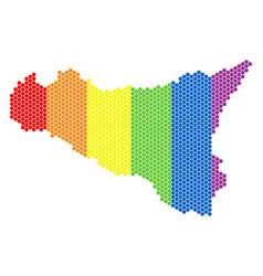 Lgbt spectrum pixel sicilia map vector