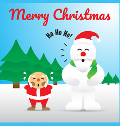 merry christmas - snowman acting like santa claus vector image