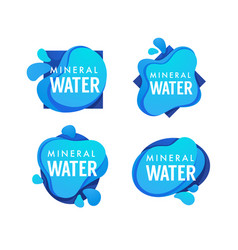 Mineral spring water logo labels and stickers vector