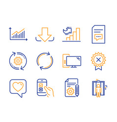 Mobile survey heart and comments icons set vector