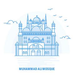 Muhammad ali mosque blue landmark creative vector