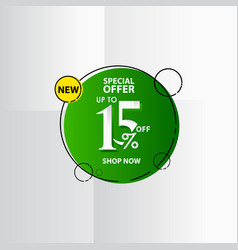 New discount label up to 15 special offer shop vector