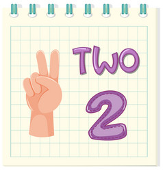 Number two on note template vector