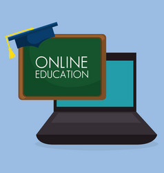 On line education with laptop vector