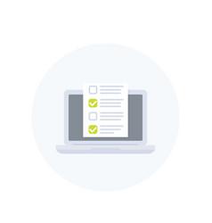 online survey form checklist in laptop icon vector image