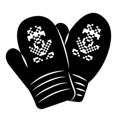 Pair of mitten icon simple style vector