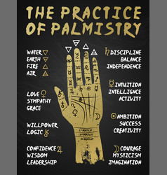 palmistry chiromancy - gold hand on a blackboard vector image