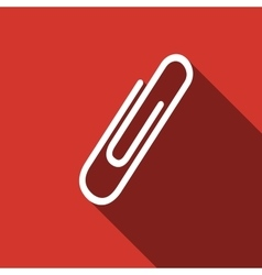 Paper Clip icon with long shadow vector