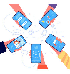 people group with phone hands holding smartphones vector image