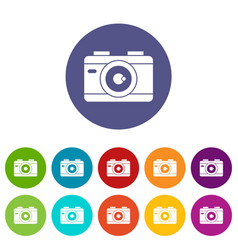 Photo camera set icons vector