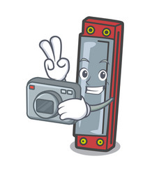 Photographer harmonica mascot cartoon style vector