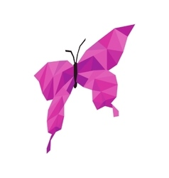 Pink butterfly icon isometric 3d style vector