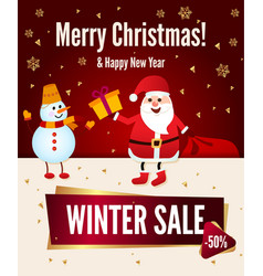 poster merry christmas sale up to 50 off santa vector image