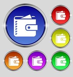 Purse icon sign Round symbol on bright colourful vector