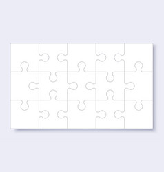 puzzles grid template jigsaw puzzle with pieces vector image