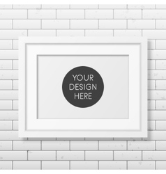 Realistic white frame A4 on the brick wall vector image