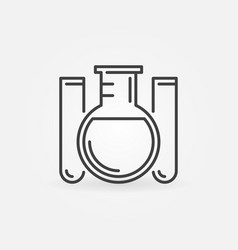 Round-bottom flask and test tubes linear concept vector