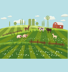 rural countryside landscape farmhouse spring vector image