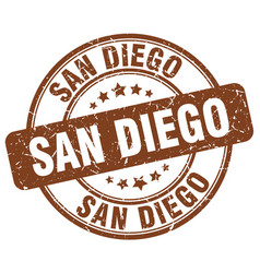 San diego brown grunge round vintage rubber stamp vector