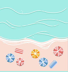 Sandy beach umbrellas and sea waves vector