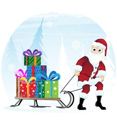 Santa Claus with sleigh vector image