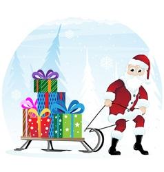 Santa Claus with sleigh vector image