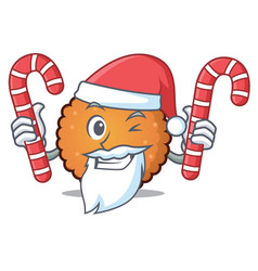 Santa with candy cookies mascot cartoon style vector