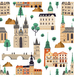 seamless pattern with famous czech buildings vector image