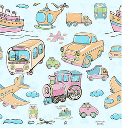 Seamless pattern with transports multicolored vector