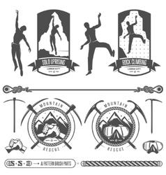 Set mountains and rock climbing emblems vector