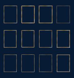 set of luxury golden frames and borders set set vector image