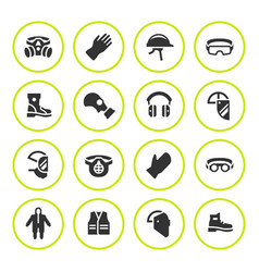 set round icons of personal protective equipment vector image vector image
