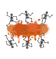 Skull dancer banner for halloween design vector