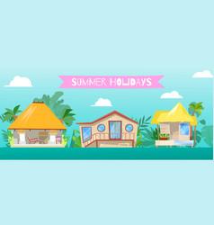 summer holiday at flat beach home vector image