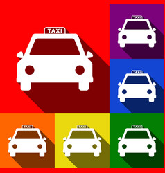 taxi sign set of icons with vector image