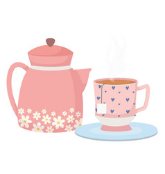 tea time decorative hearts in cup and kettle vector image