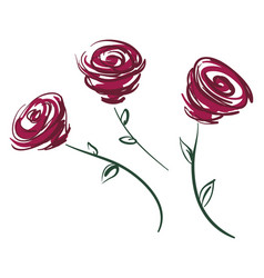three red roses or color vector image