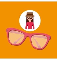 Toursit female hat sunglasses elegant vector