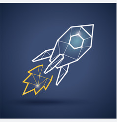 Triangle rocket icon on dark background vector