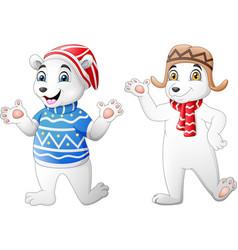 two cute polar bear cartoon in winter clothes vector image