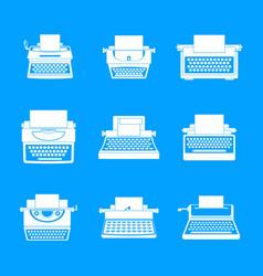 Typewriter machine keys icons set simple style vector