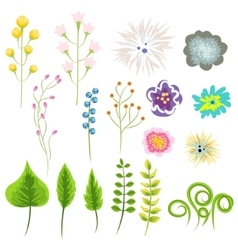 Wild flower and leaves set clip art vector